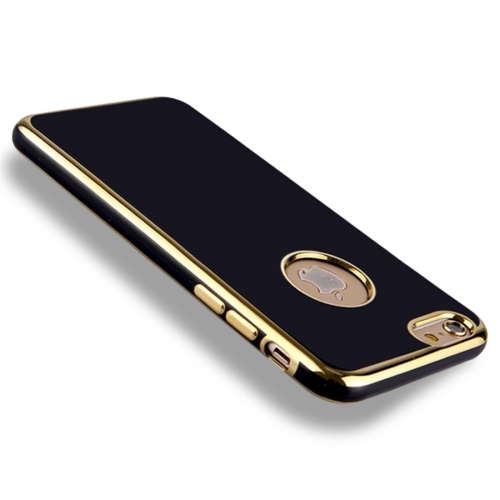 For iPhone 6 6s Electroplating Soft TPU Protective Cover Case (Black)