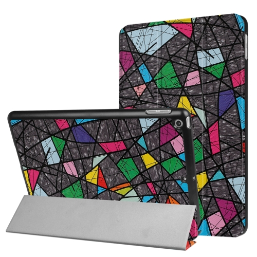 For iPad 9.7 inch 2017 Cross Texture Painting Color Polygonal Pattern Horizontal Flip Leather Case with Three-folding Holder