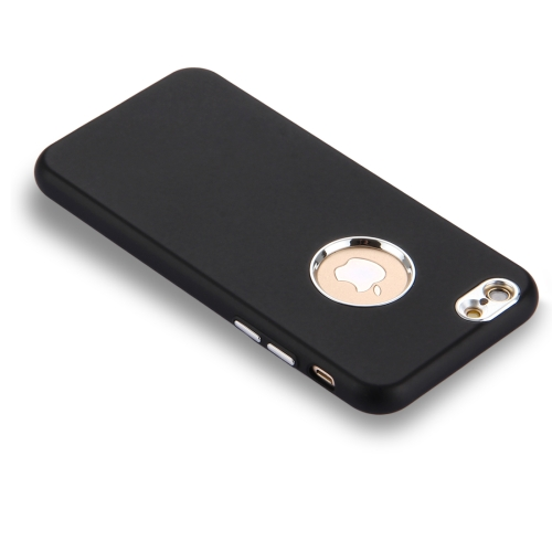newest 124e3 f163c For iPhone 6 6s Pure Colour Oil Spout Soft TPU Metal Button Protective Case  Back Cover(Black)